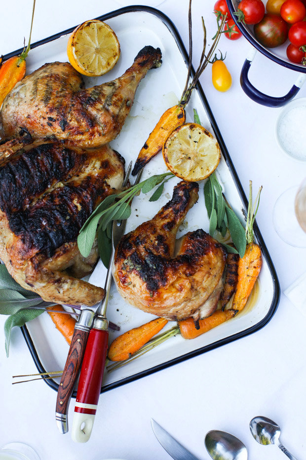 Sage-Scented Barbecued Chicken with Grilled Lemon