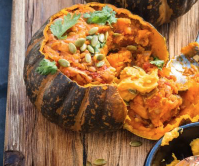 Whole roasted buttercup squash